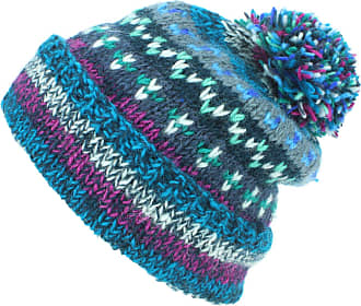 Loud Elephant Chunky Wool Knit Abstract Pattern Beanie Bobble Hat - Blue