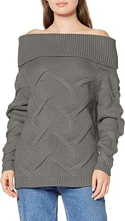 Vila Womens Vicabla Knit New Off Shoulder Top Jumper, Grey (Medium Grey Melange Medium Grey Melange)