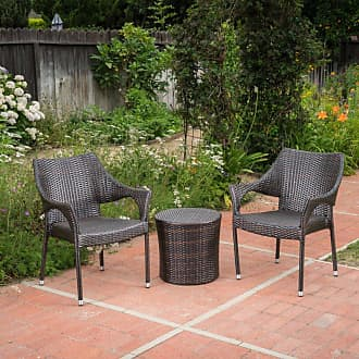 BEST SELLING HOME Oxford Wicker 3 Piece Outdoor Stacking Chair Chat Set - 300947