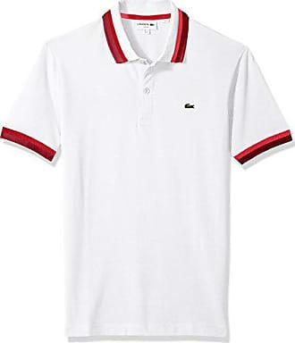 2af5754a Lacoste Mens Short Sleeve Semi Fancy Pique Pima Stretch Slim Polo, PH3185,  White/
