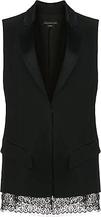 Kiki De Montparnasse sleeveless lace hem silk tuxedo jacket - Black