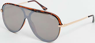 Quay Empire - Sonnenbrille mit flachem Brauensteg in Schildpatt-Optik-Braun