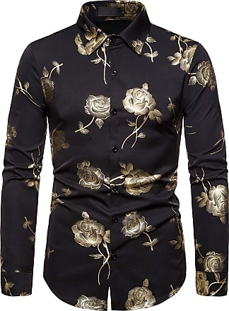 Whatlees Mens Long Sleeve Baroque Golden Flower Design Printing Casual Dress Shirts Button Down 02010186XBlack+XL