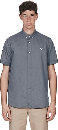 Fred Perry Authentics Short Sleeved Oxford Shirt Small DARK CARBON