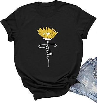 Dresswel Women Faith T Shirt Sunflower Graphic Print Tshirt Crew Neck Short Sleeve Tee Summer Tops Black