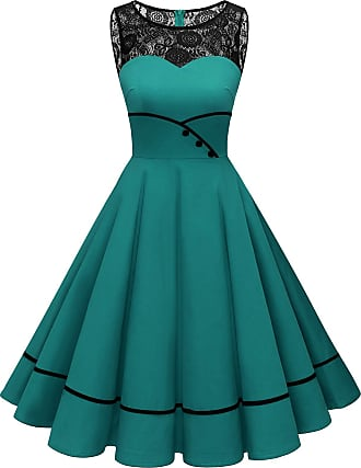 Bbonlinedress Womens 1950s Vintage Retro Polka Dot Swing Dress Floral Lace Cocktail Party Dress Turquoise 2XL