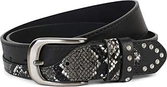 styleBREAKER women belt with rhinestones and details in snakeskin look, adjustable 03010102, size:95cm, color:Black