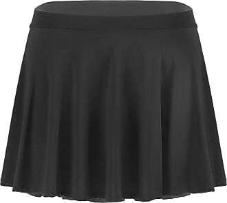 TiaoBug Womens Ultra-Thin High Waist Pleated Mini Skirt Solid Flared Mini Lingerie Skirts Black One Size