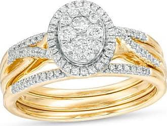 Zales 1/3 CT. T.w. Composite Diamond Oval Frame Twist Bridal Set in 10K Gold