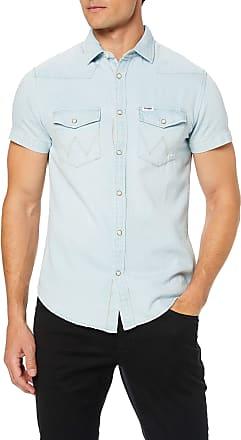 Wrangler Mens Ss Western Shirt Denim, Blue (Bleached Indigo Dz9), Medium