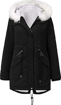 VITryst Womens Drawstring Fur Hooded Zipper Long Coat Casual Warm Outwear Jackets Overcoats Tops,Black,X-Large