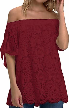 Zanzea Womens Off Shoulder Lace Tops Sexy Floral Lace Crochet Blouse Casual Short Sleeve T-Shirt Top-Wine red UK 20