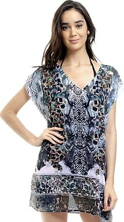 101 Resort Wear Blusa Tunica Decote V Crepe Fenda Lateral Verde (G)
