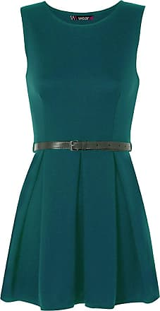 WearAll Ladies Belted Flared Skater Short Mini Dress Sleeveless Pleated Womens - Teal - 8