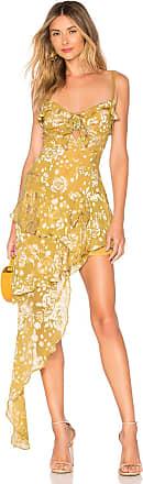 For Love & Lemons Cosmo Asymmetrical Dress in Mustard