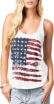 Insun Womens Vintage American Flag Print Crew Neck Tank Tops T Shirts US 6