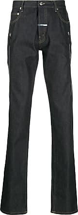 Zilver Calça jeans reta com zíper lateral - Azul