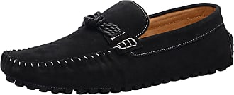 ICEGREY Mens Driving Moccasins Slip-On Loafer Slipper with Knot Black 44
