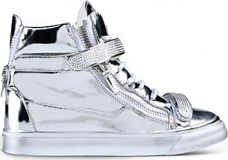 Giuseppe Zanotti Silver patent leather high-top sneakers VEGAS