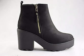 Truffle Pearl 1 Micro Black Suede Ladies Ankle Platform Vegan Boots Combat Boot[Ladies UK 5 / EU 38]