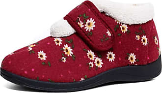 Dunlop Womens Deloris Fleece Lined Wide Fit Velcro Slipper (5 UK, Red Floral)