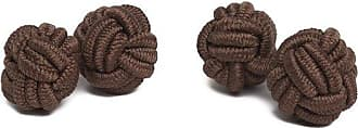 Jacob Alexander Pair of Solid Color Silk Knot Cufflinks - Cocoa Brown