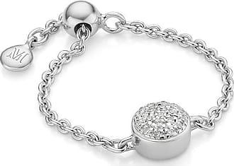 Monica Vinader Fiji Mini Button Adjustable Diamond ring - SILVER