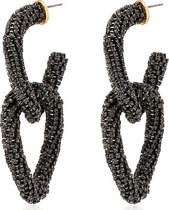 Oscar De La Renta crystal-embellished hoop earrings - Black