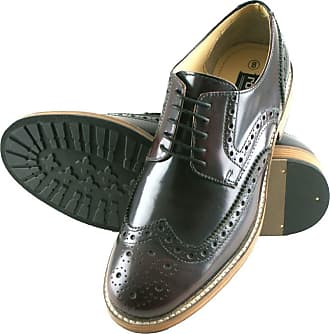 Roamers Hi Shine Oxblood Real Leather 5 Eyelet Wing capped Gibson Brogue Mens Shoes Size 6