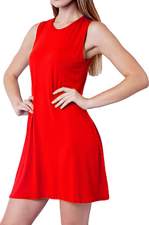 Re Tech UK Womens Ladies Sleeveless Swing Dress Skater Midi A-line Flared Tea Plain Mini Polo High Round V-Neck Casual (UK 16-18 XL (Plus Size), Red - Round Neck