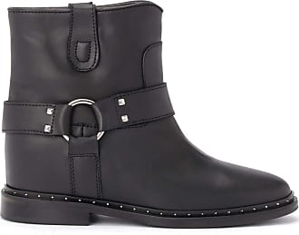 Via Roma 15 Black Leather Ankle Boot with Micro Studs and Strap