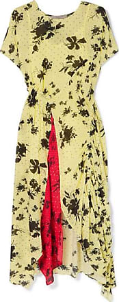 Preen Asha Floral-print Georgette Midi Dress - Pastel yellow