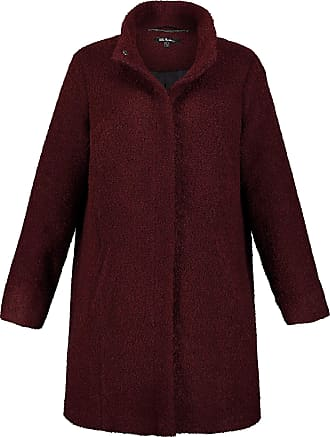 Ulla Popken Womens Plus Size Stand Up Collar Boucle Coat Wine Red 32/34 719126 83-58+