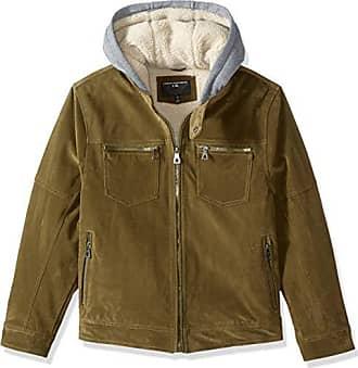 Urban Republic Mens Boys Trendy Pu Suede Jacket, Green, M