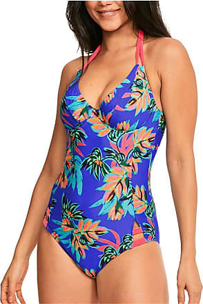 Figleaves Womens Fiji Underwired Swimsuit Size 34FF in Purple Palm