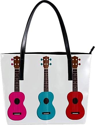 Nananma Womens Bag Shoulder Tote handbag with Elegant Ukulele Print Zipper Purse PU Leather Top-handle Zip Bags