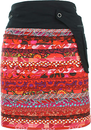 Loud Elephant Reversible Popper Wrap Knee Length Skirt - Red Patch Strips / 70s Telephone