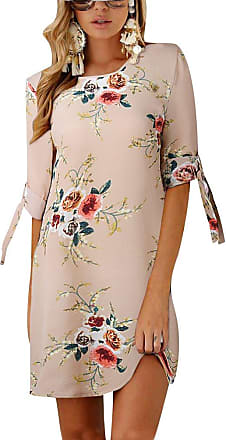 Isshe Womens Dresses Short Floral Printed Chiffon Bowknot Sleeves Holiday Day Dress Ladies Casual Summer Loose Round Neck Tunic Mini Shift Dress Beach Sundr
