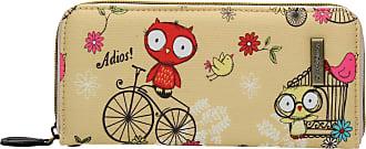 Swankyswans Pembleton Owl Large Zip around Wallet in Beige