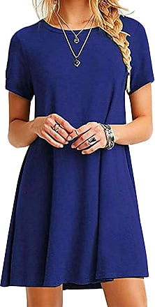 Yidarton Womens Summer Casual Sleeveless Short Sleeve Floral Printed Round Neck Short Sundress Beach Dresses with Pockets (F-Royal Blue, XXL)