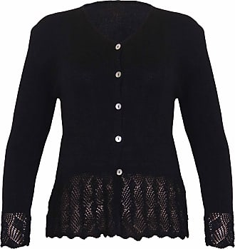 Purple Hanger Womens Long Sleeve Ladies Front Button Knitted Sweater V Shaped Neck Scallop Crochet Cardigan Top Plus Size Black Size 18-20 (L/XL)