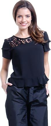 101 Resort Wear Blusa 101 Resort Wear Pala Renda Preta