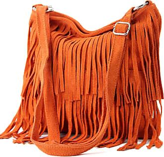 modamoda.de Ital. Leather bag Shoulderbag Shoulder bag Ladiesbag Wild leather T125, Colour:orange