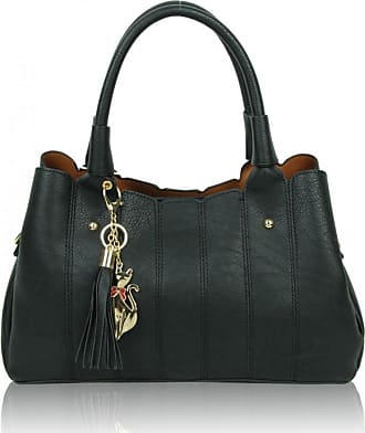 LeahWard Womens Soft 2 IN 1 Handbags Tote Grab Bags For Her Holiday 85811 (BLACK)
