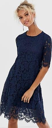 Glamorous Midi-jurk met kanten bovenlaag-Marineblauw