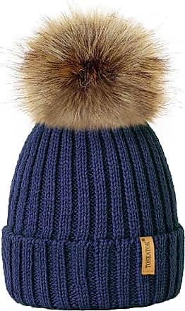 TOSKATOK Womens Winter Rib Knitted Hat/Beanie with Detachable Chunky Faux Fur Bobble Pom Pom - Available in 5 Colours Navy