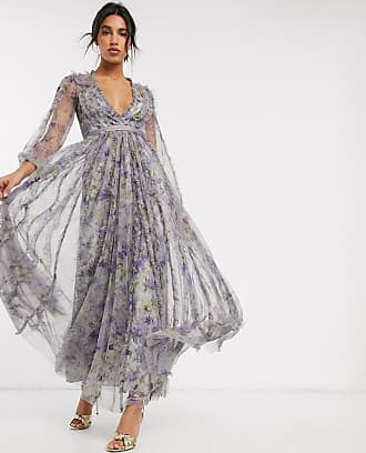 Needle & Thread maxi dress with contrast waistband in purple floral print-Multi