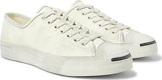 Converse Jack Purcell Ox Distressed Suede-trimmed Canvas Sneakers - Off-white