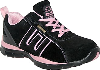 Groundwork Ladies Lightweight Leather Uppers, Steel Toe Cap LACE UP Safety Trainer. (UK5, blk/Pink)