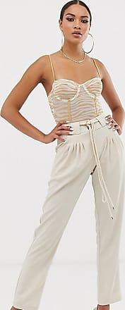 Unique21 Pantaloni affusolati a vita alta con cintura in corda-Bianco